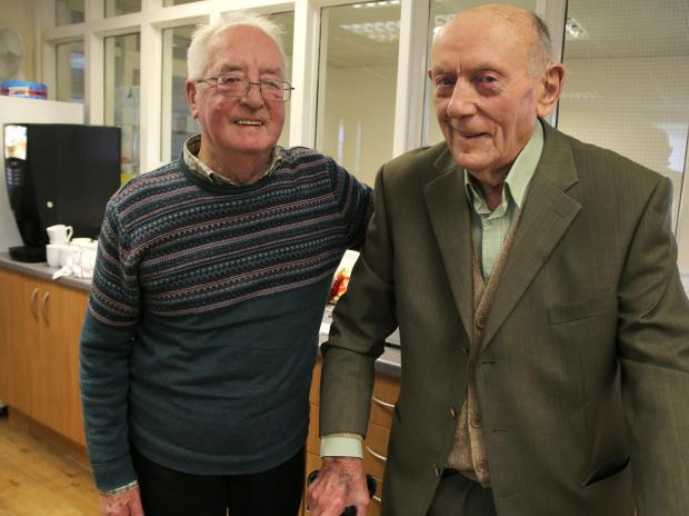 Ian Young, 75, left, from Chester-le-Street, meets his long lost friend Earnest Cheesebrough, 88, at Age UK Darlington