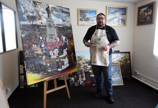 John Palliser works on his First World War commemorative painting in his Newton Aycliffe studio