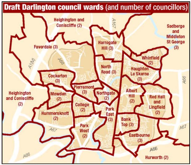 The draft ward boundaries for Darlington Borough Council as proposed by the Boundary Commission