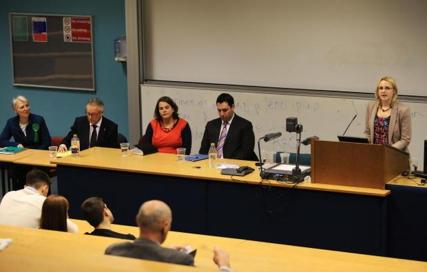 From left: Shirley Ford (Green Party), Richard Elvin (UKIP), Jude Kirton-Darling (Labour), Ben Houchen (Conservative), and Angelika Schneider (Lib Dem)