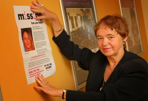 The Northern Echo: SEARCH GOES ON: Joan Lawrence with a poster publicising the search for her missing daughter, Claudia