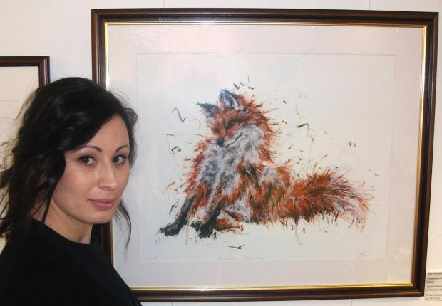 Artist Aaminah Snowdown whose depiction of a fox has been entered for the prestigious David Shepherd Foundation's annual wildlife artist competition.