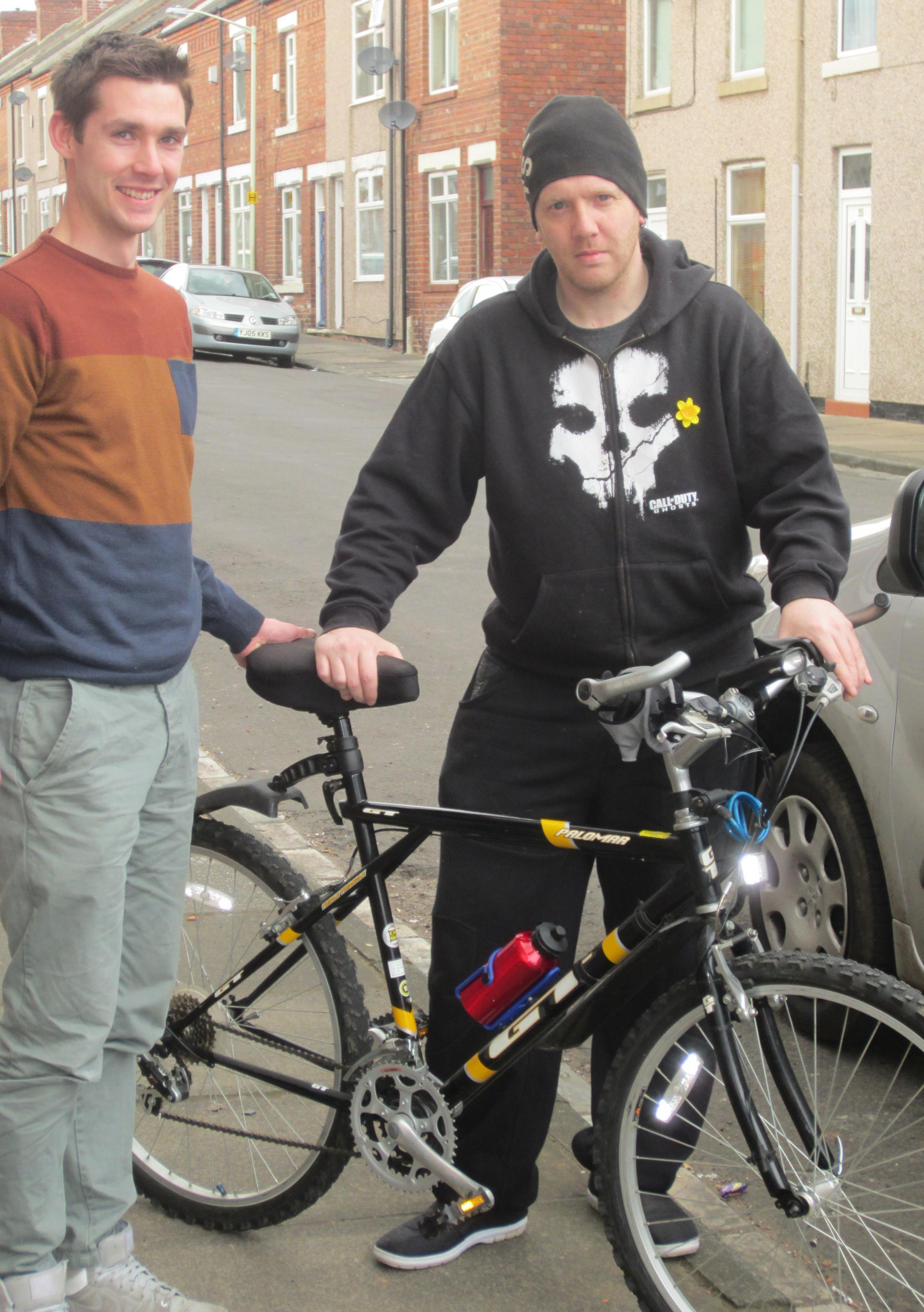 BACK HOME: PCSO Mark Rodgers and bike owner Paul Wallis