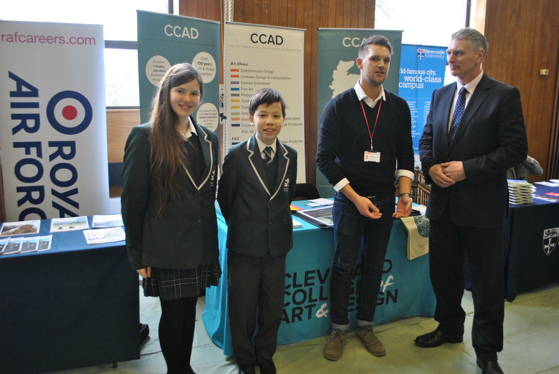 Pictured (L-R):  Pupils Erin Partridge and Alrlan Musurov, delegate Liam Bradley and Polam Hall School head teacher John Moreland.