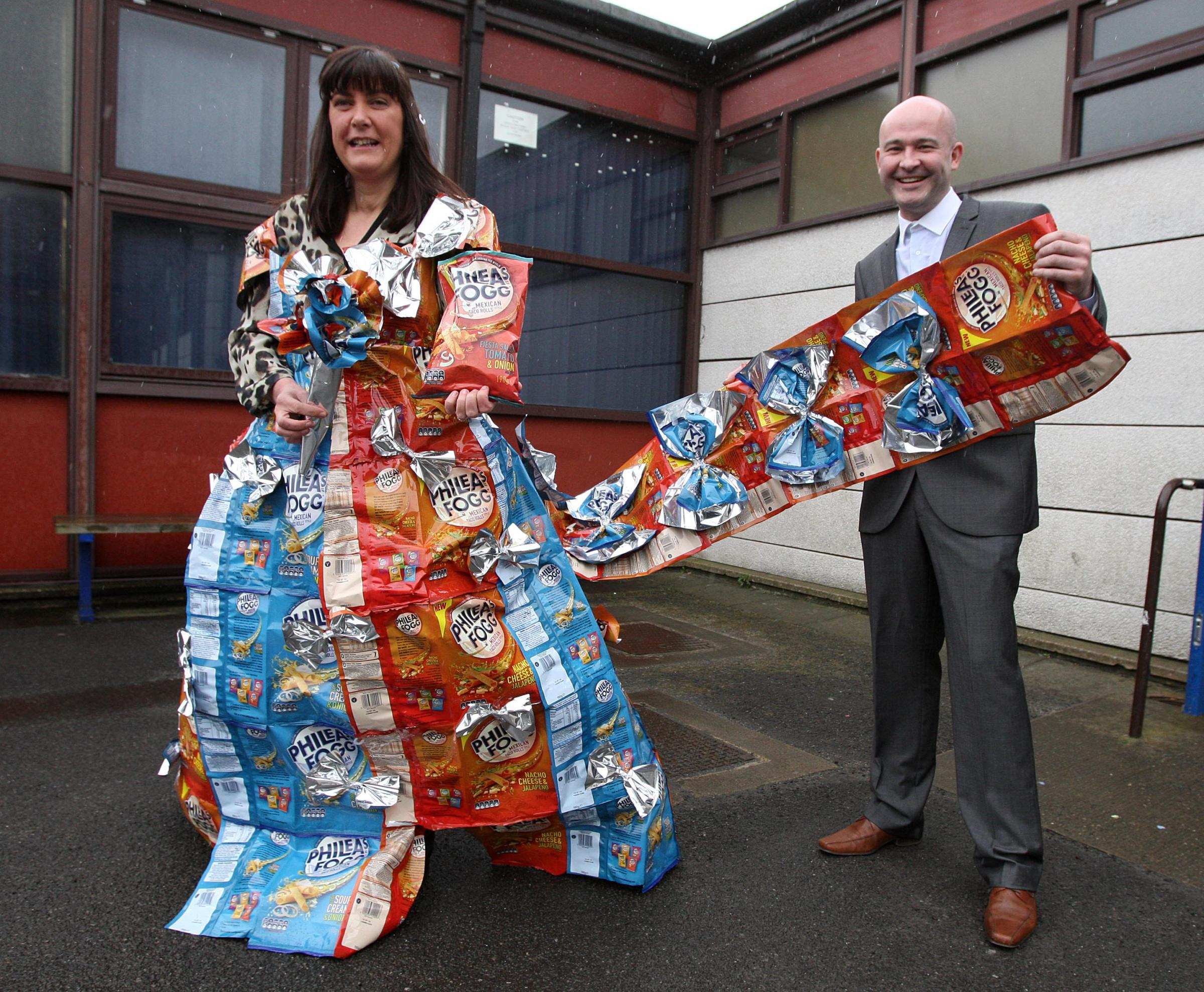 Bride has wedding dress made out of crisp packets