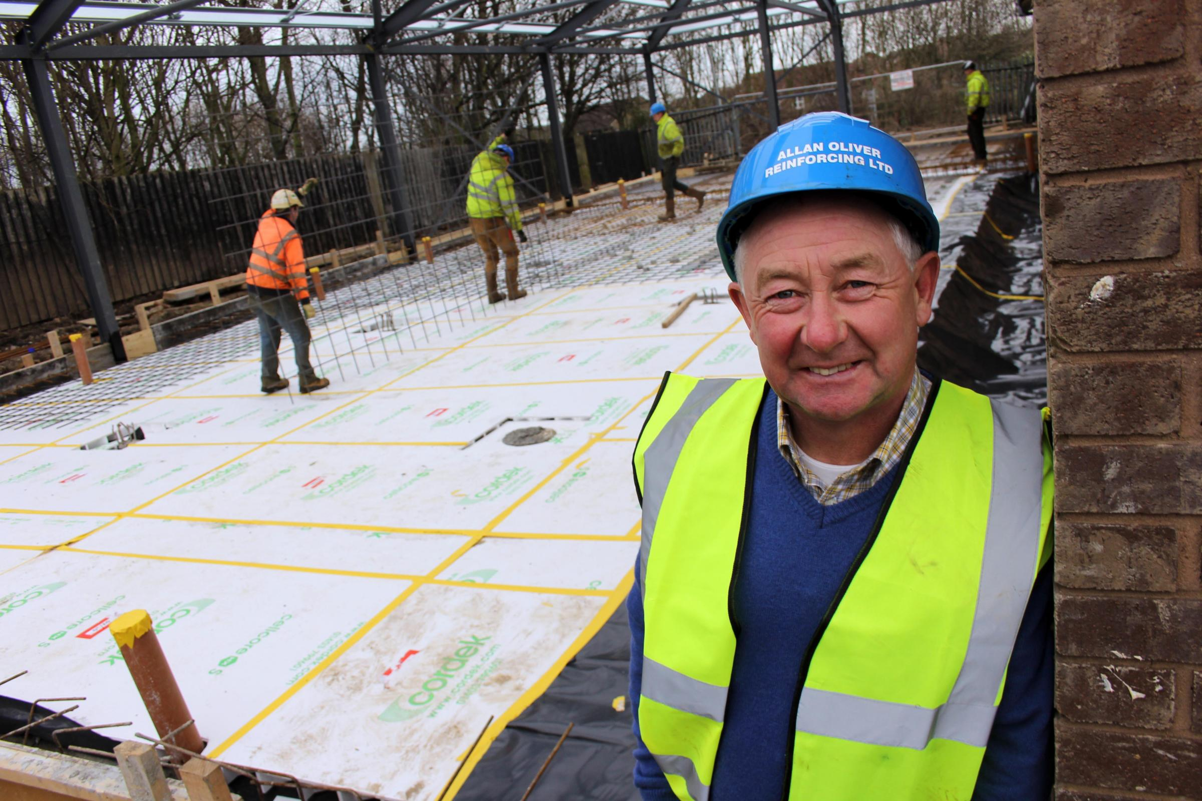 Allan Oliver, pictured on the site where his firm is preparing the foundations for an Aldi extension, near Elwi