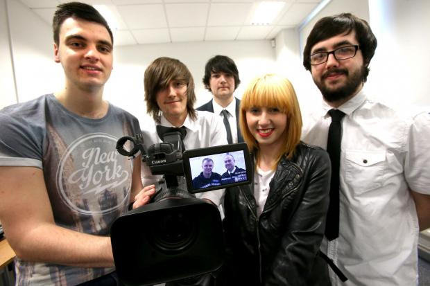 Darlington College students (L-R) Reece Nash, Aiden Fisher, Aaron Ball, Danielle Jameson and James Liddell