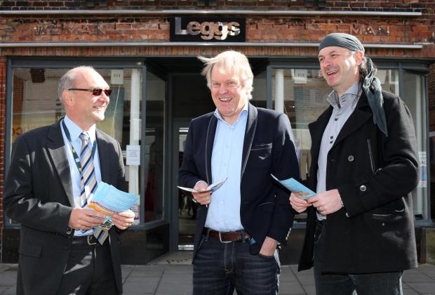 SIGNING UP: John Anderson, assistant director for economic initiative at DBC, with John Coxon of clothing store Leggs, the latest business to sign up to the conference, and Les Fry, representing the Darlington Business Improvement District