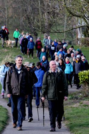 .Walkers set off from Chester le Street in the annual St Cuthbert's Day pilgrimage to Durham Cathedral.