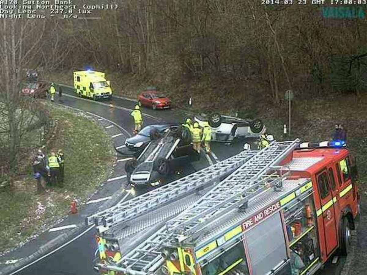 The scene of the road traffic accident at Sutton Bank