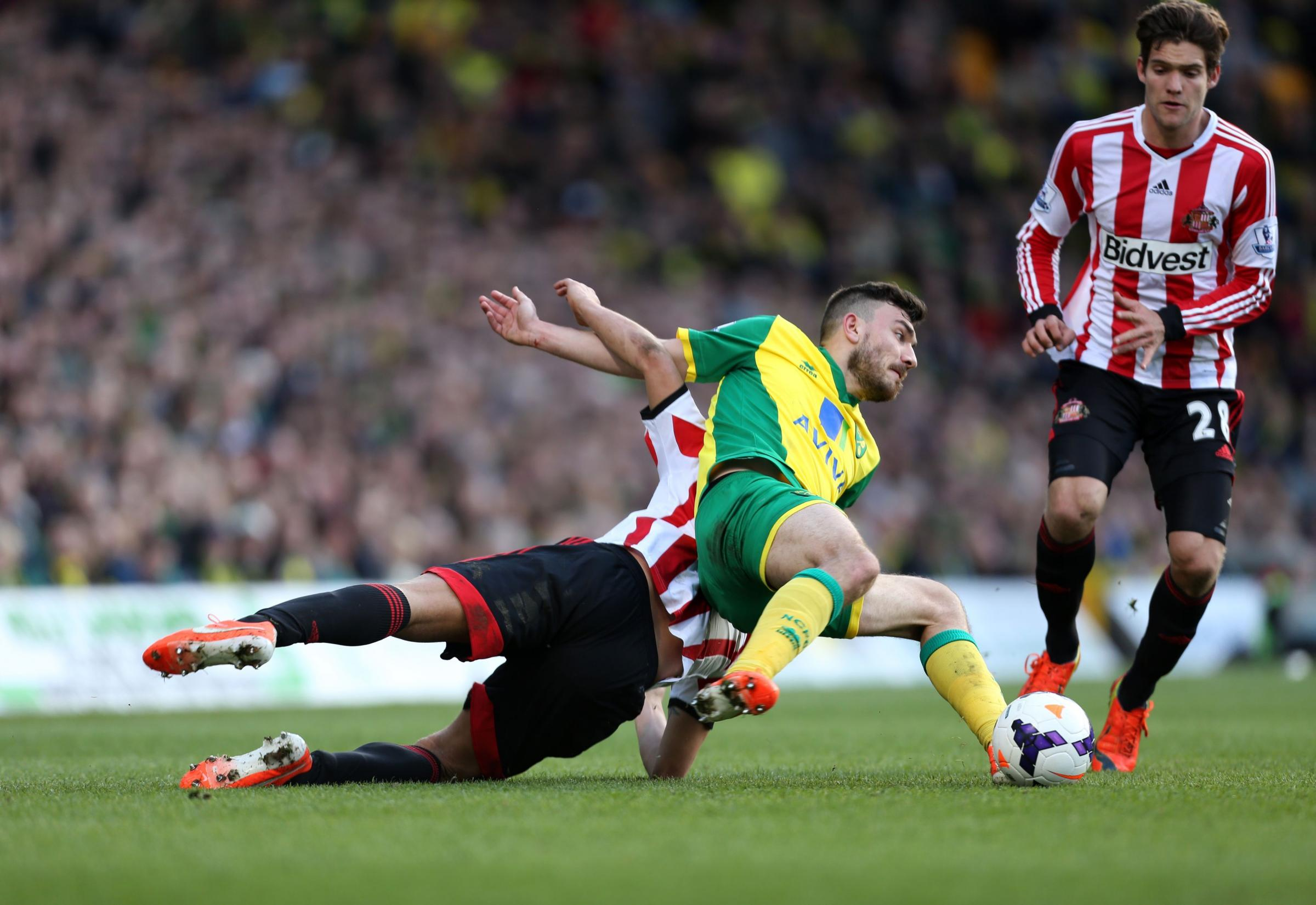 TAKING A TUMBLE: Sunderland's Wes Brown goes to ground in a clash with Robert Snodgrass