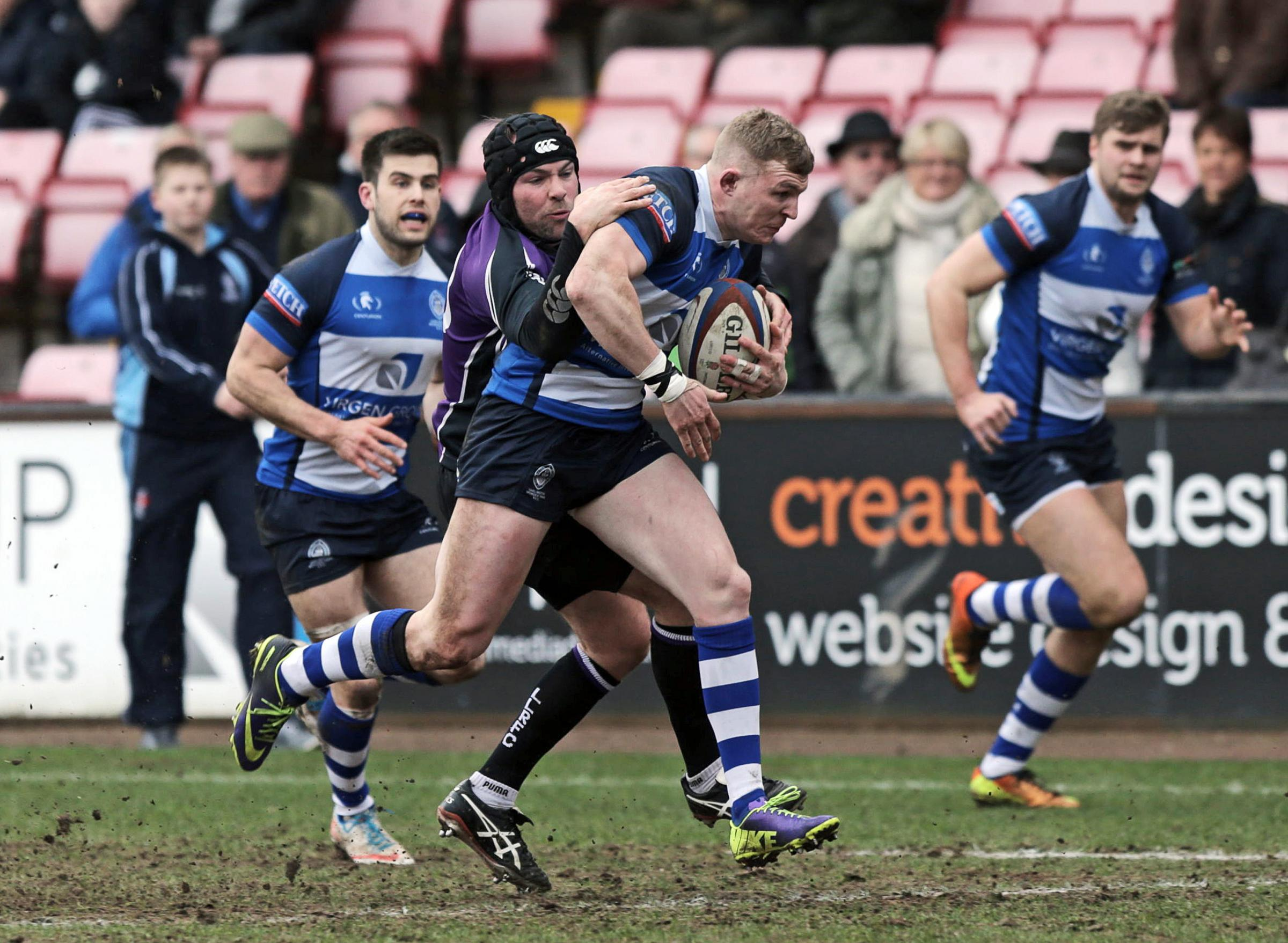 HEADING HOME: Callum McKenzie surges for the line for Mowden against Leicester Lions duiring their comprehensive victory