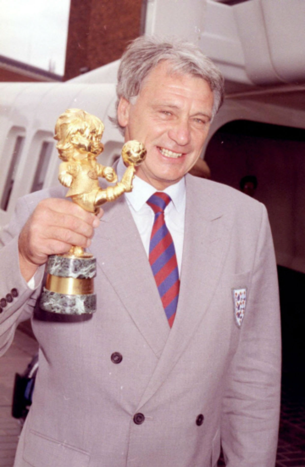 Sir Bobby pictured after the 1990 World Cup with the fair play trophy he received