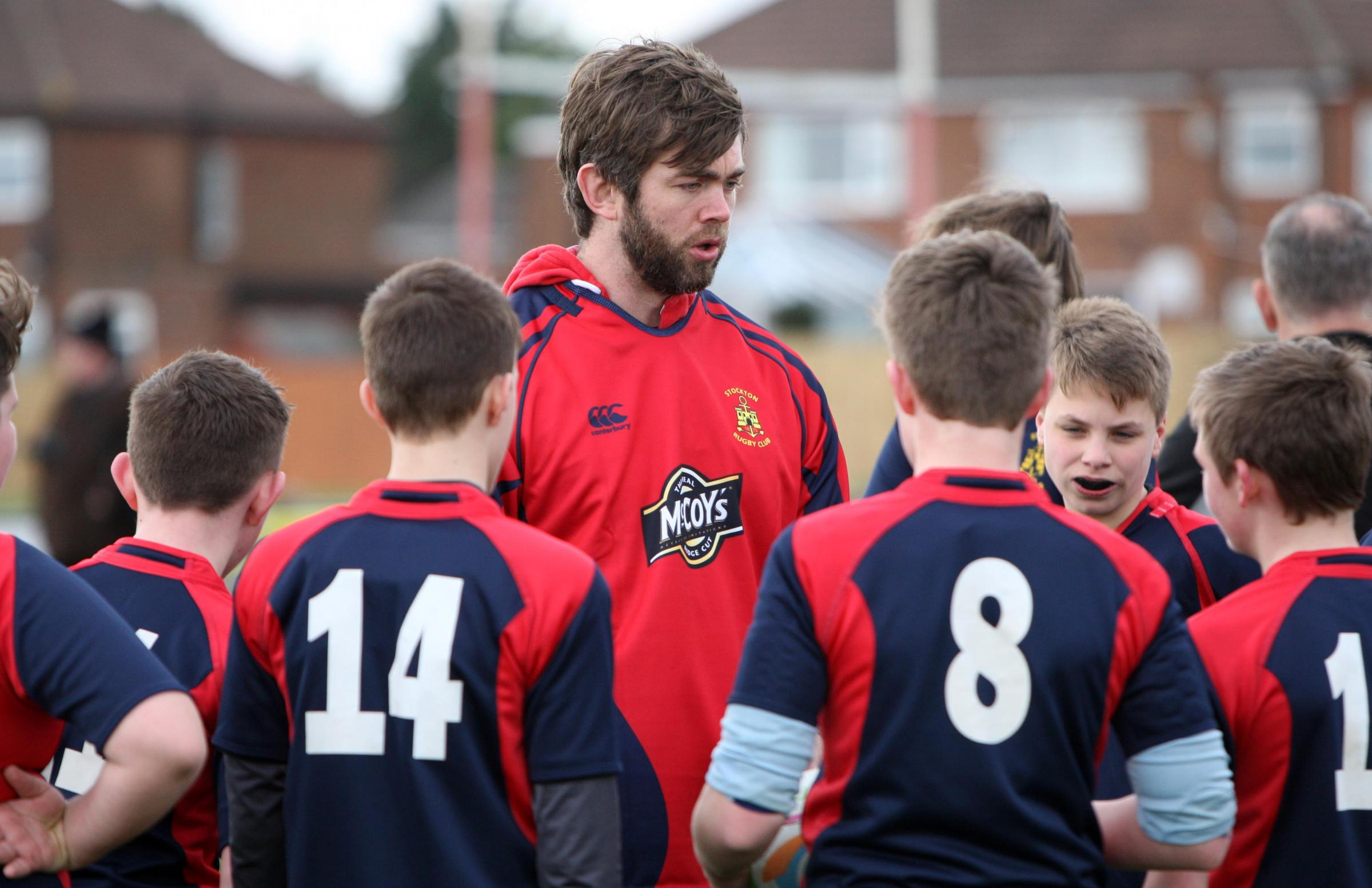 British and Irish Lions rugby union star Geoff Parling goes back to his roots by visiting Stockton Rugby Club where he started his illustrious career by training some of the youth teams. Pictures: Tom Banks