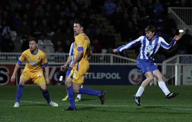 GET IN: Luke James fires home to make it 2-1 to Hartlepool United, but Mansfield Town went on to win 4-2 at Victoria Park
