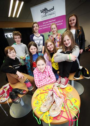 Framwellgate School Durham pupils Frankie Williams, Harrison Lee,  Emily Mitford, Heather Wallace, Olivia Burns, Amy Chamberlain, Emily Barr, Samantha Adamson and Natasha Dowson with their suped up shoes