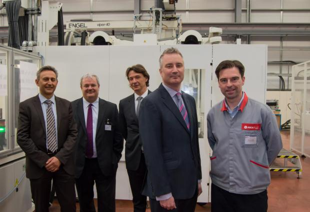 Pictured from left to right are Mecaplast Group's business director Emmanuel Voituret, chief executive Pierre Boulet and chairman Thierry Manni, with Paul Varley of the North East LEP and Steve Tyson, general manager of Mecaplast Peterlee