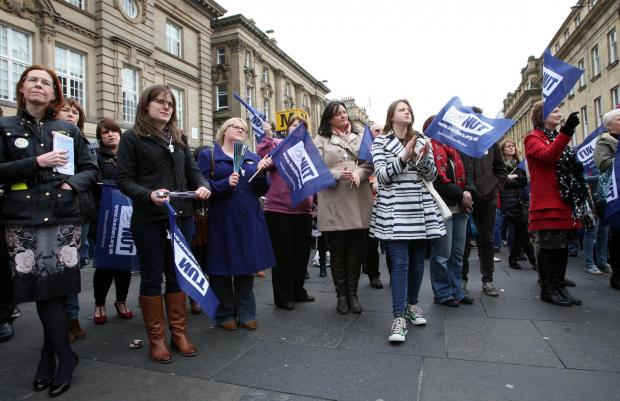 The NUT national strike rally in Newcastle city centre. Pictures: Tom Banks