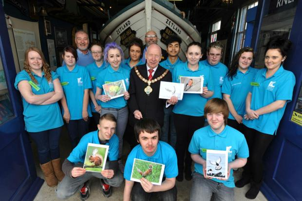 Students launch their exhibition at Redcar Lifeboat Museum with Mayor Vic Jeffries,  Heartstone's Robbie Low (back left) and Redcar Town Manager (back right)