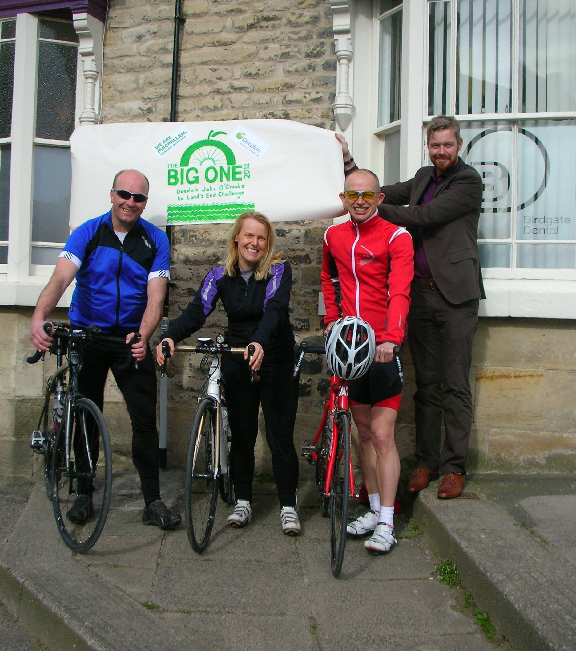 Lawrence Herbert, Sarah Glover and Richard Marsden with their Denplan consultant, Chris Mayor, preparing for the challenge ahead.
