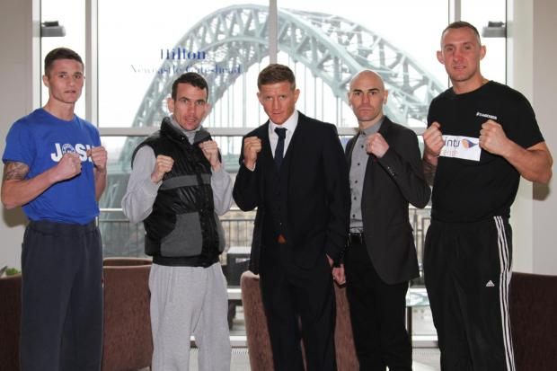 The Northern Echo: THE MAIN EVENT: Boxers line up at a press conference yesterday at The Hilton Hotel in Gateshead. Left to right are Josh Leather, Martin Ward, Bradley Saunders, Stuart Hall and John Lewis- Dickinson