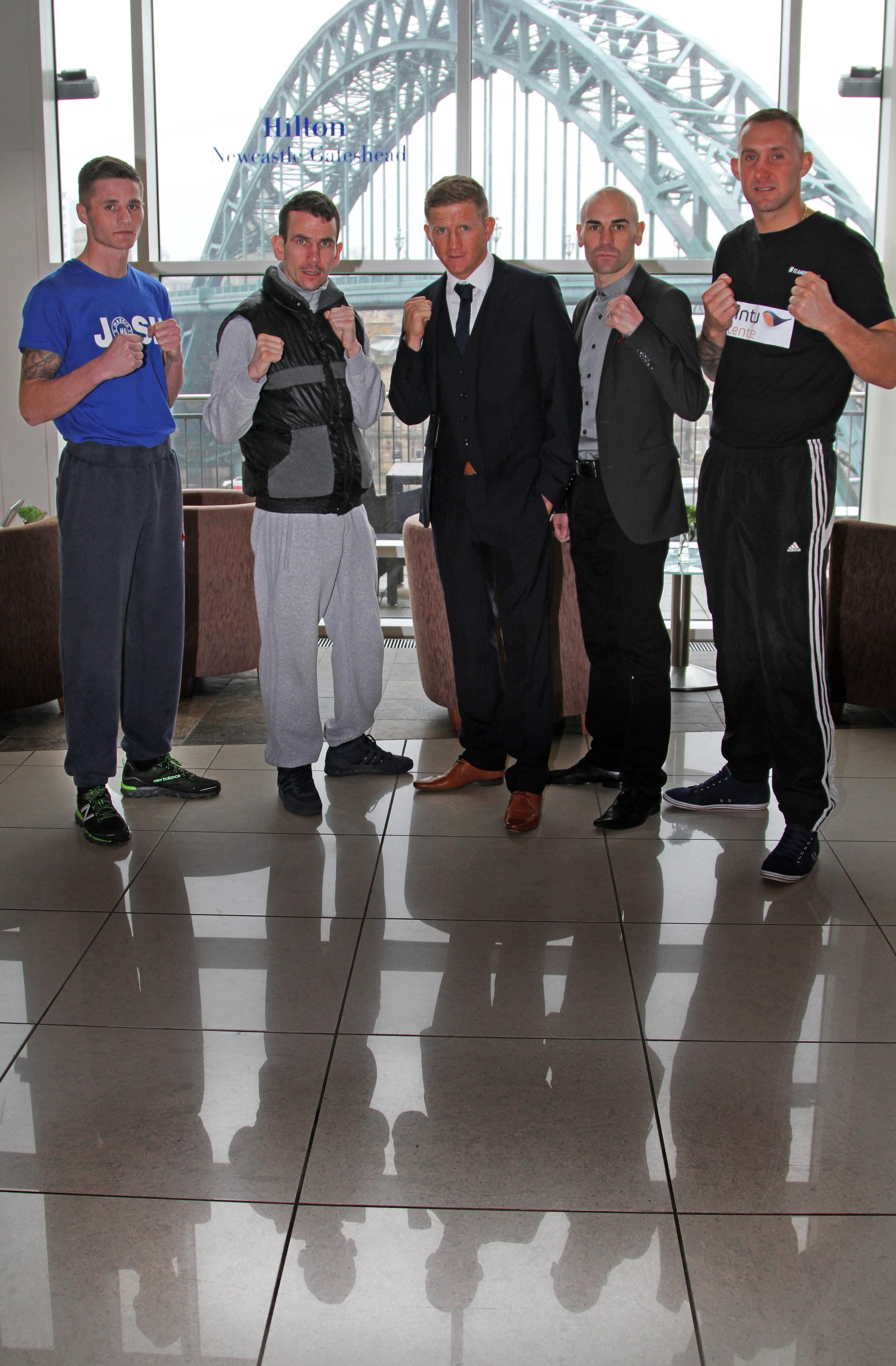 HIGH TIMES: Martin Ward, second left, and Stuart Hall, second right, at yesterday's press conference to talk about a fight which coems amid a golden era for boxing in the region