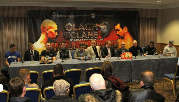 TIME TO TALK: The scene at yesterday's press conference at The Hilton Hotel in Gateshead where the boxers talked about tomorrow's bill at the Metro Radio Arena