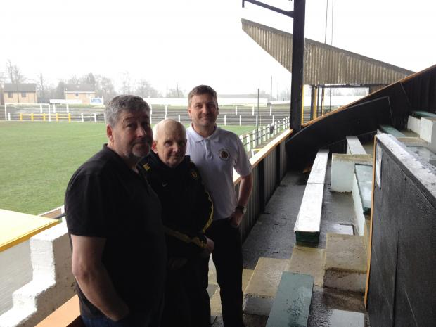 Crook Town FC committee members Jeff Patterson and Eric Gibson with secretary Ian Todd at the Sir Tom Cowie Millfield ground