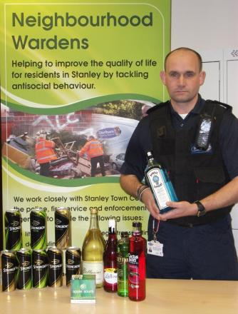 Durham County Council Neighbourhood Warden team leader Paul Rutherford with alcohol seized from four 14-year-olds in Stanley earlier this month.