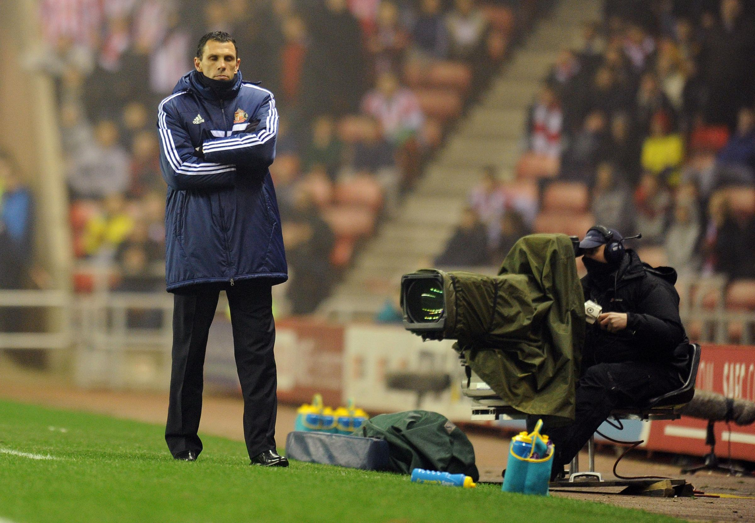 A DECISIVE NIGHT: Gus Poyet, the Sunderland boss, reflects in the technical area during last night's disappointing defeat to West Ham United