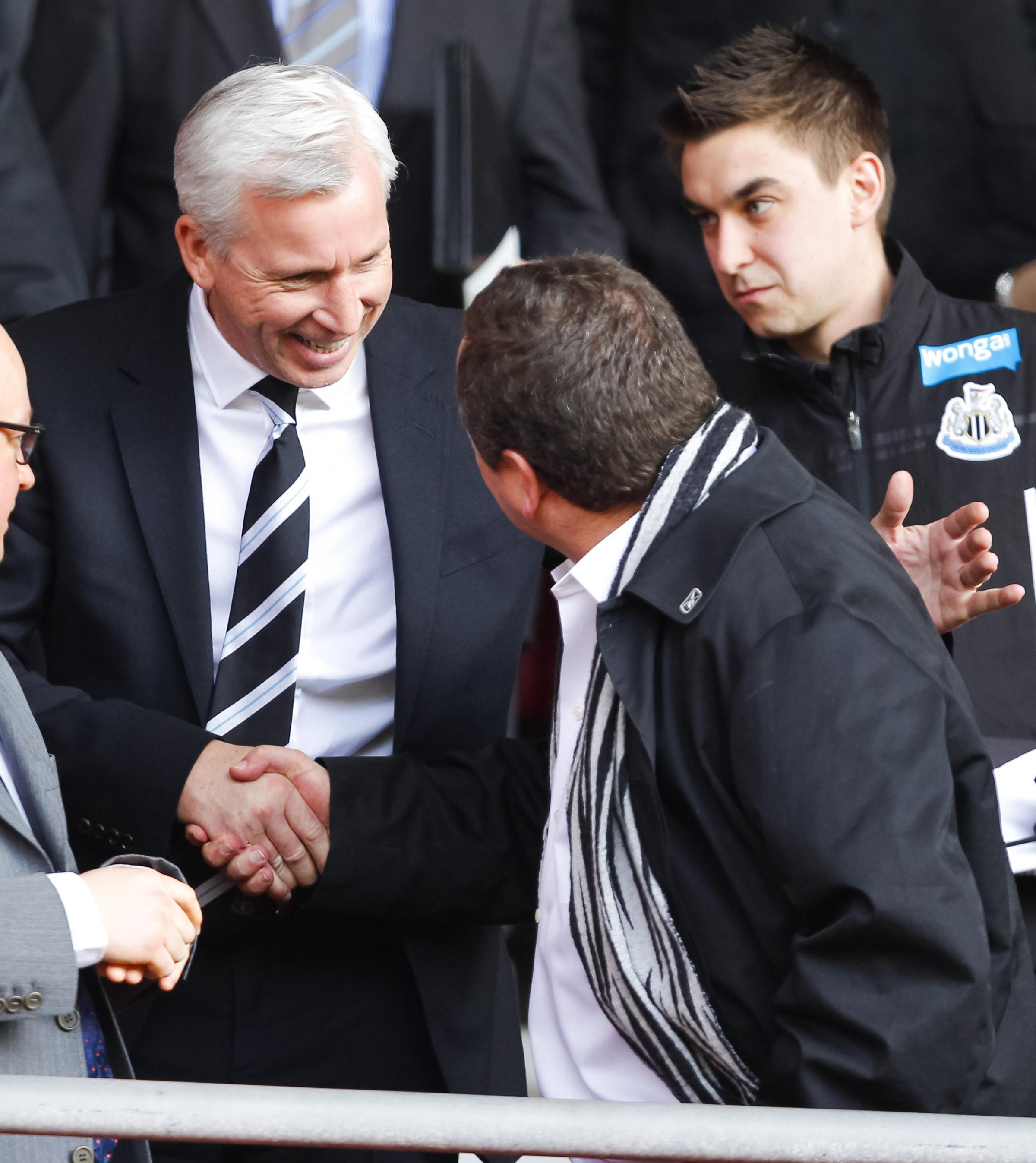 SEASON'S GREETINGS: Manager Alan Pardew shakes hands with owner Mike Ashley at St Mary's