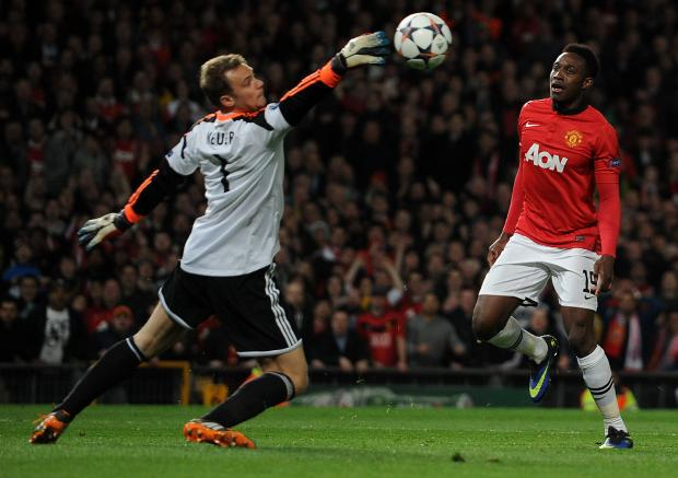MISSED CHANCE: Manchester United's Danny Welbeck sees a shot saved during last night's 1-1 Champions League quarter final match with Bayern Munich