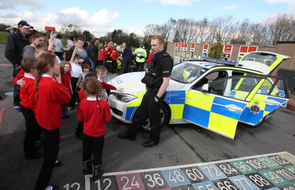 PC Peter Gibson from Durham and Cleveland Road Policing Unit visits Evenwood C of E Primary School for a speed awareness day