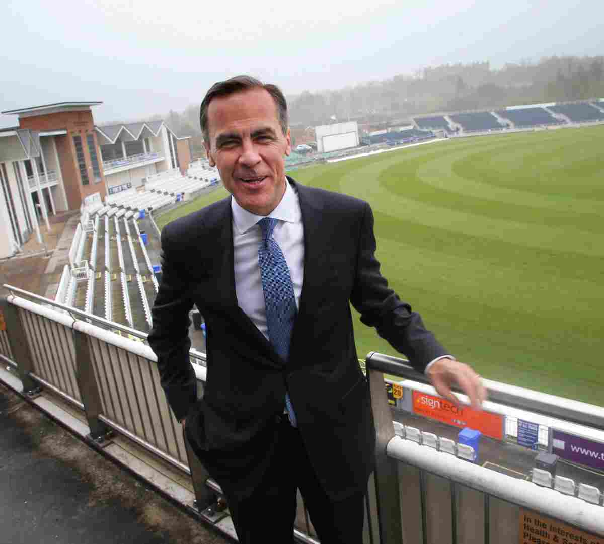 Mark Carney, Governor of the Bank of England at the cricket ground in Chester-le-Street.