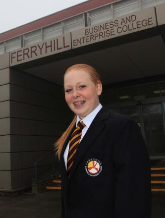 NEW LOOK: Ferryhill Business and Enterprise College will get a new uniform in September, as modeled by pupil Lucy Maddison, 14