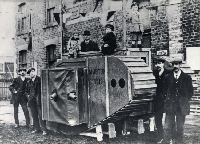 Replica tank outside the Miners' Hall, Murton, 1918