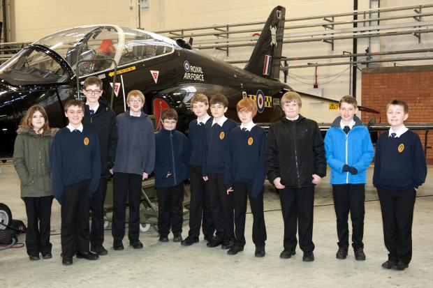 Richmond School pupils with a Hawk jet at RAF Leeming.