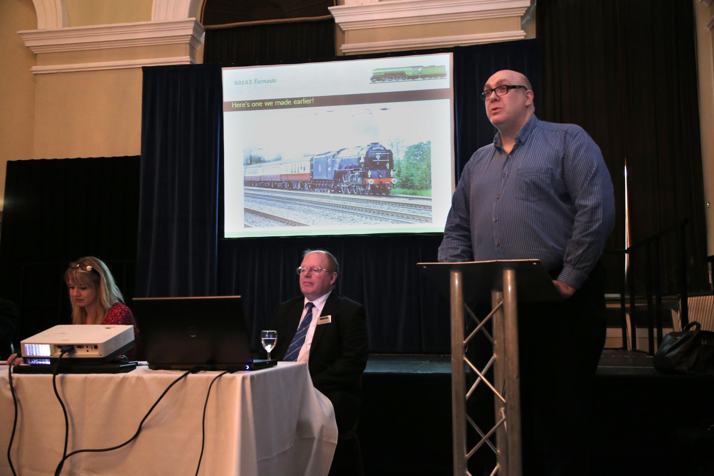 GRAND PLANS: Mark Allatt, chairman of the company behind plans for the multi-million pound Prince of Wales steam engine, outlines progress so far at a meeting in Darlington
