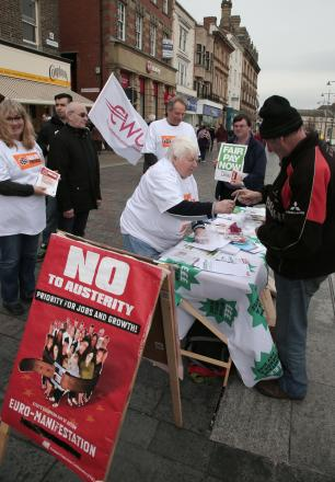 SIGN UP: TUC activists encourage members of the public to back their anti-austerity campaign, in Darlington town centre on Saturday