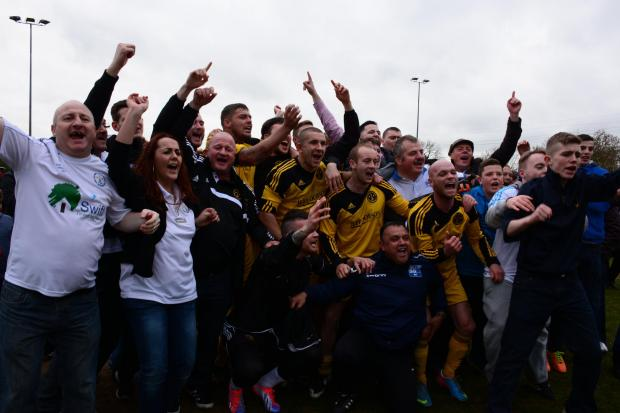 OFF TO WEMBLEY: West Auckland FC players and fans celebrate semi-final win.