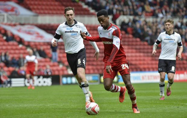 The Northern Echo: KEY MOMENT: Nathaniel Chalobah fires Middlesbrough's winner against Derby