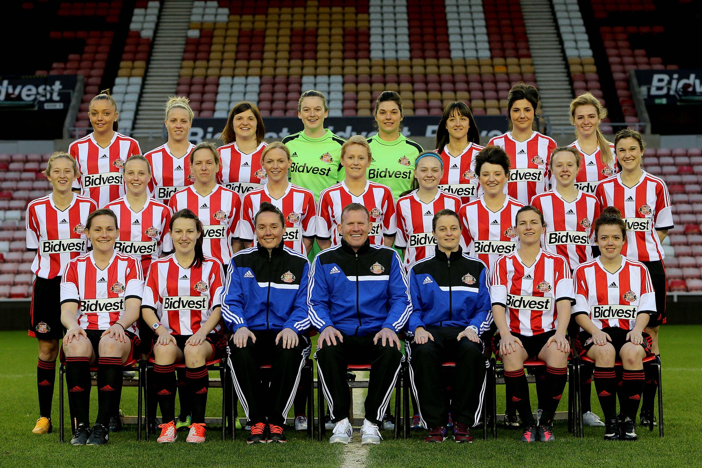 SUNDERLAND LADIES: The squad line up for their historic first team photo