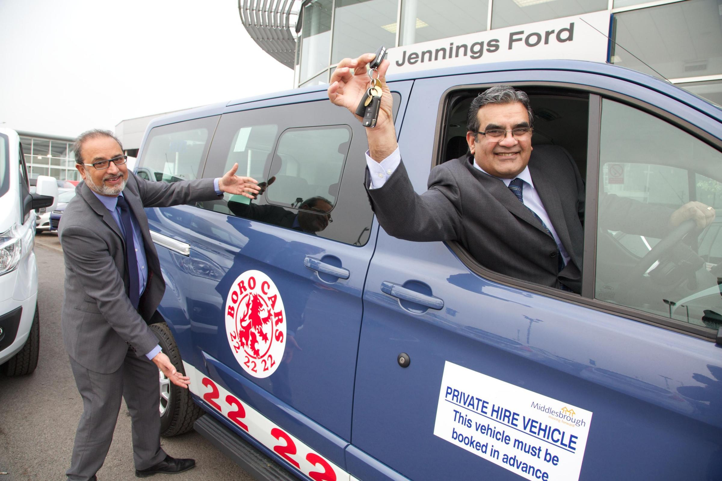 Nas Khan, of Jennings Group, left, with Mohammed Bashir, from Boro Taxis