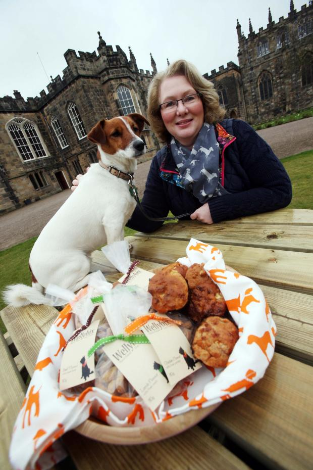 The Northern Echo: WELLYBIX TREATS: Alison Walton with her dog Welly ahead of the Bishop Auckland Food Festival