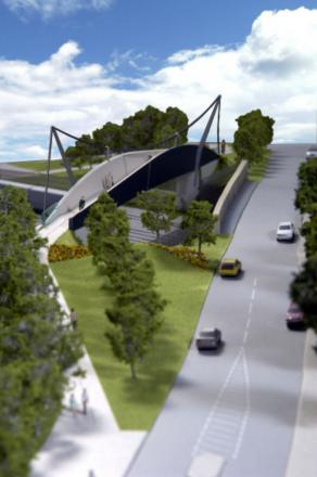 The original design for the Haughton Road pedestrian bridge, which has now been scrapped