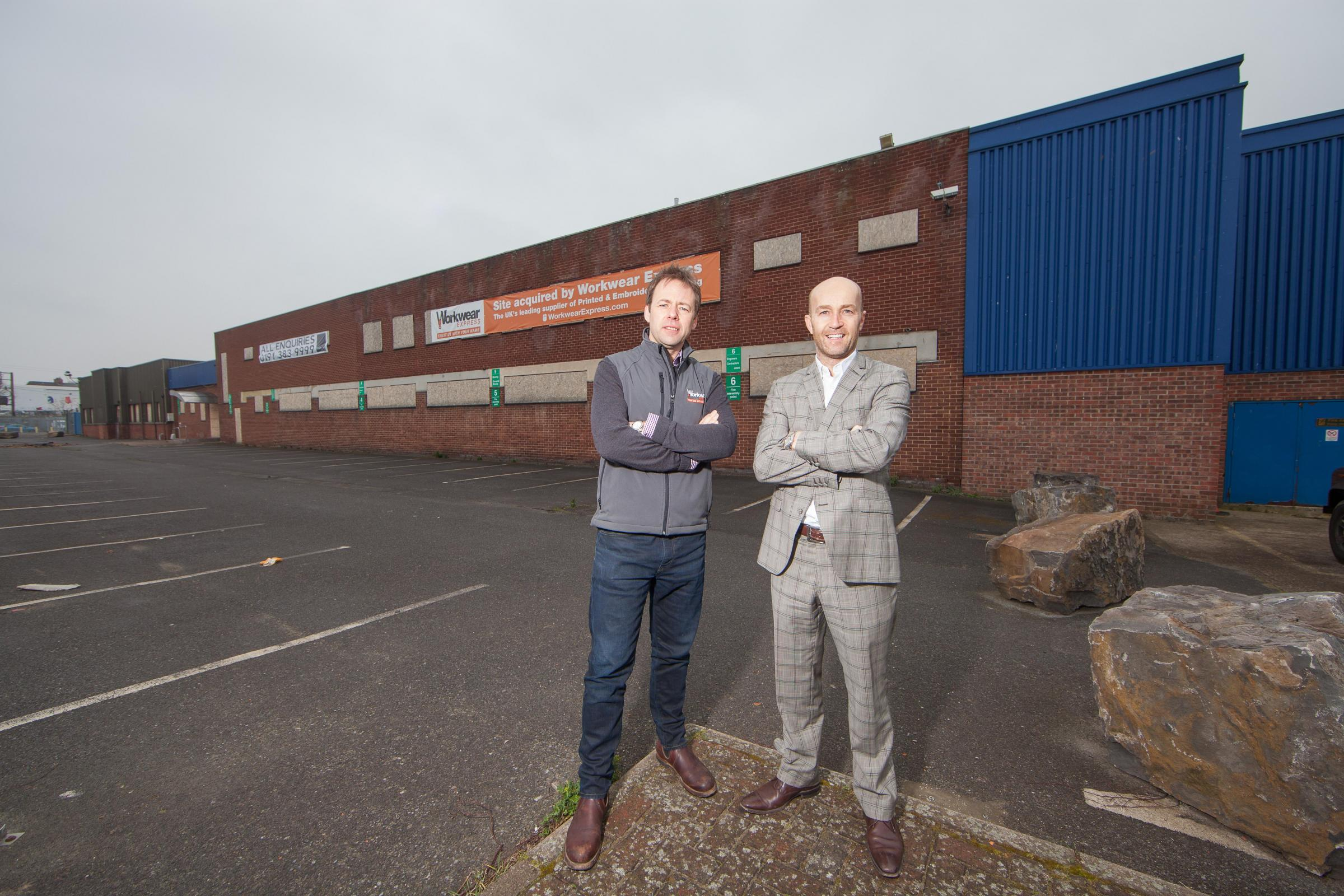 Andrew Ward, left, of Workwear Express, with Bradley Hall's Peter Bartley