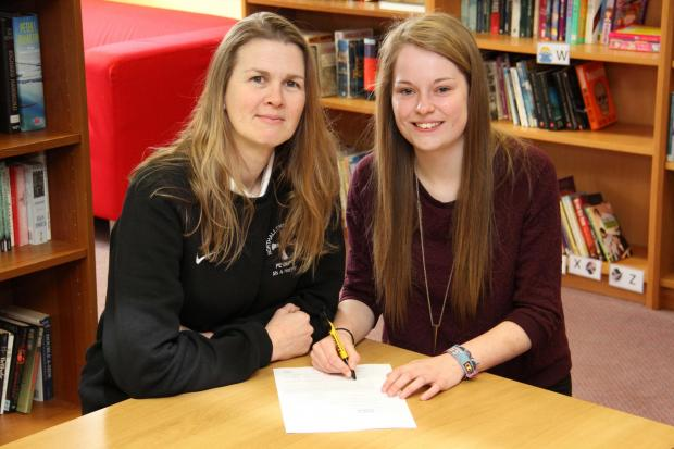 Going west, Northallerton College student Hannah Kirk who has secured a sports scholarship in America, pictured with head of PE Anna Harvey.