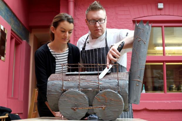 Alex Hirst of Distinct Darlington and chef Martyn Edmonds from Clervaux Bakery with the Locomotion cake