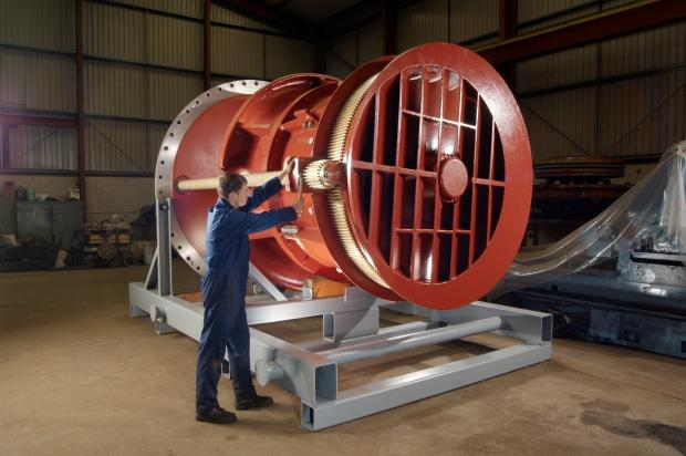 A ship's thruster being completed at Tees Components