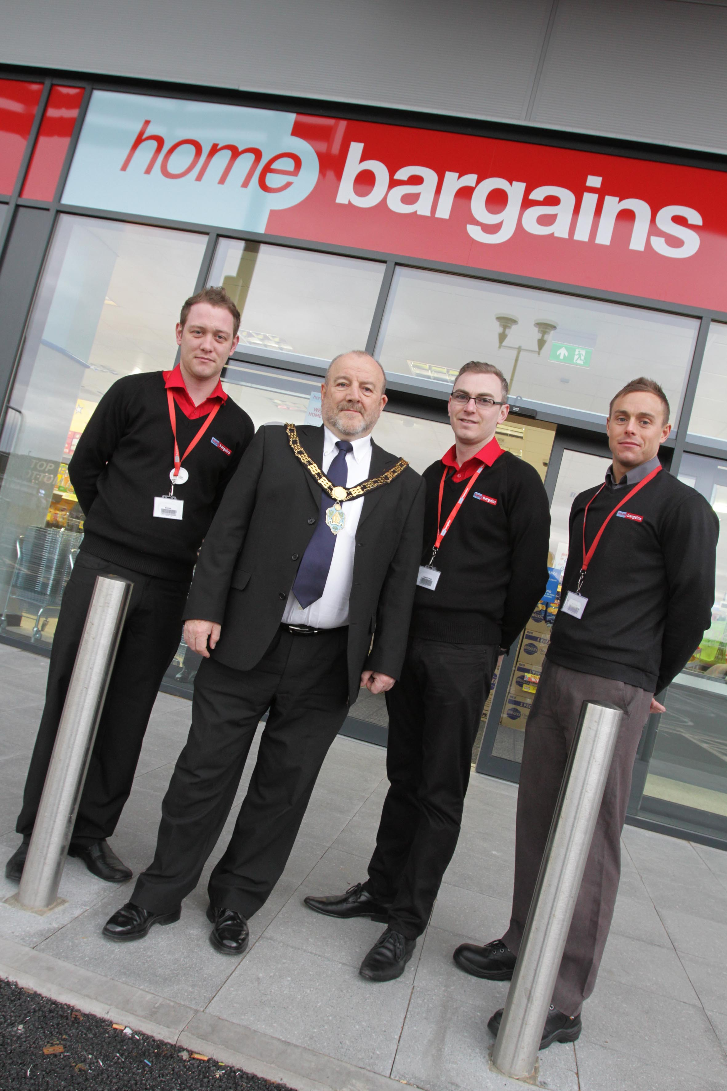 Mayor of Bishop Auckland, Councillor David Fleming opens Home Bargains at St. Helen Auckland. Also pictured are, from the left, supervisors Wayne Stringer and Chris Stokoe and store manager Anthony Pattison.